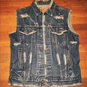 Vintage Levi's Red Tag distressed Denim Vest 40L